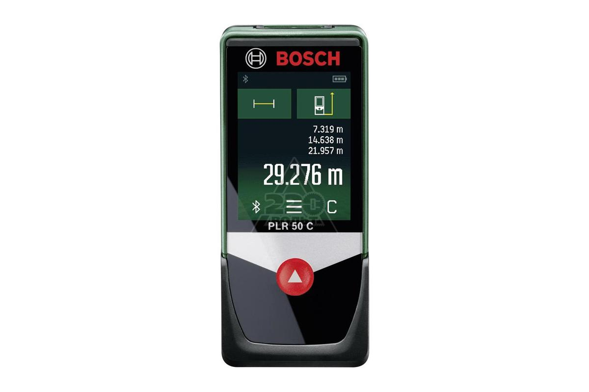 Лазерный дальномер Bosch PLR 50 C [0603672220]Измерительные инструменты<br>Продукция всемирно известной компании Bosch позволит Вам придать неповторимость своему дому так же легко, как и выполнить ремонтные и восстановительные работы. При этом Bosch умеет соединять инновационные технические решения с исключительным удобством пользователя. Помимо высокого качества и надежности инструменты отличаются, прежде всего, простотой и удобством использования.<br><br>Лазерные дальномеры служат для определения расстояний. Они широко применяются при строительстве и ремонте, удобны для сборщиков мебели. Заменяя традиционное оборудование...<br><br>Тип: Лазерный дальномер<br>Лазерный диод: 635 Нм<br>Класс лазера: 2<br>Диапазон измерений: 0.05 – 50 м<br>Точность измерений: +- 2 мм/м<br>Номин. время измерения: 0.5 с<br>Макс. время измерений: 4 с<br>Автоматика отключение: есть<br>Время автоматики отключения: 5 мин