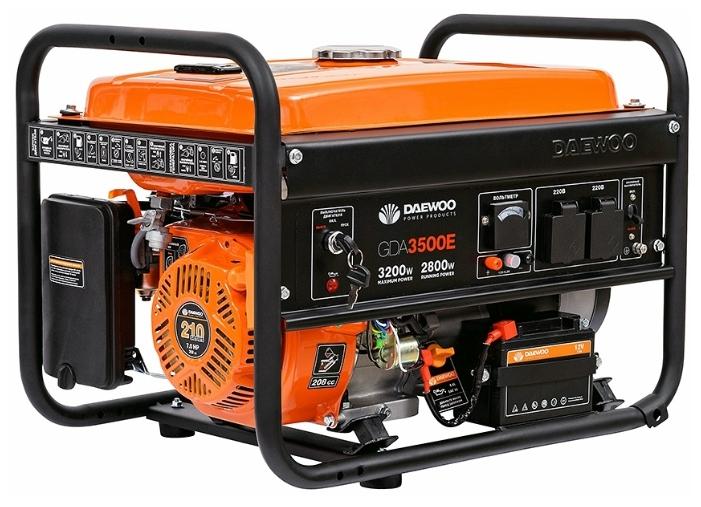 Электрогенератор Daewoo GDA 3500EЭлектрогенераторы<br><br><br>Тип электростанции: бензиновая<br>Тип запуска: ручной, электрический<br>Число фаз: 1 (220 вольт)<br>Объем двигателя: 208 куб.см<br>Мощность двигателя: 7 л.с.<br>Тип охлаждения: воздушное<br>Объем бака: 15 л<br>Активная мощность, Вт: 2800<br>Защита от перегрузок: есть