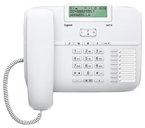 Проводной телефон Gigaset DA710 WhiteПроводные телефоны<br>Gigaset da710, white: всё для комфорта.<br><br><br>  <br><br><br>Проводной телефон Gigaset da710, white больше напоминает небольшой компьютер, чем обычный телефон. Причем, речь идет не только о внешнем сходстве.<br><br><br>  <br><br><br>Эта модель может похвастаться и ярким дисплеем, который может менять свое положение, и удобным кнопками, и эргономичным дизайном, и, конечно же, отличной функциональностью и превосходной доступной ценой. Автоматический определитель номера и Caller ID, спикерфон, встроенная телефонная книга, возможность регулировать уровень громкости звонка &amp;mdash; теперь вы и сами видите,...<br><br>Тип: проводной телефон<br>Дисплей: есть<br>Органайзер: есть<br>Наборное поле на базе: есть<br>Громкая связь (спикерфон): есть<br>Разъем для гарнитуры: есть<br>Память (количество номеров): 100<br>Однокнопочный набор (количество кнопок): 8<br>Переадресация (Flash): есть<br>Повторный набор номера: есть