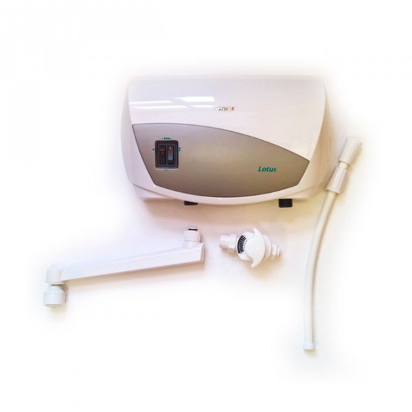Водонагреватель Atmor Lotus 5 кранВодонагреватели<br><br><br>Тип водонагревателя: проточный<br>Способ нагрева: электрический<br>Производительность, л/мин: 3<br>Максимальная температура нагрева воды (°С): +65<br>Номинальная мощность(кВт): 5<br>Управление: гидравлическое