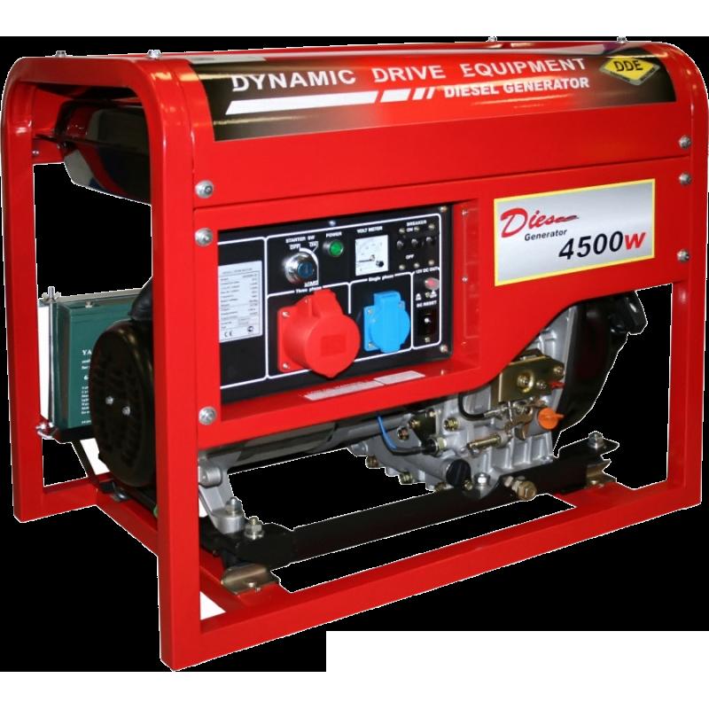 Электрогенератор DDE DDG6000-3EЭлектрогенераторы<br>Дизельный генератор DDE DDG 6000-3E с электростартером, без проблем сможет завести любой невзирая на его физическую силу и возраст. Он хорошо подойдет как для небольшой стройки, так и резервное энергоснабжение дома.<br><br>Дизельный генератор DDG6000-3E с мощным мотором в десять л.с. В отличии от бензо-электростанции, дизельная потребляет меньше горючего – это большой плюс в условиях дороговизны топлива. Так же дизельный генератор более износостойкий, что объясняется более прочным выполнением деталей двигателя и использование дизеля, а он является и смазочным...<br><br>Тип электростанции: бензиновая<br>Тип запуска: ручной, электрический<br>Число фаз: 3 (380/220 вольт)<br>Объем двигателя: 305 куб.см<br>Мощность двигателя: 10 л.с.<br>Тип охлаждения: воздушное<br>Объем бака: 25 л<br>Активная мощность, Вт: 5000<br>Защита от перегрузок: есть