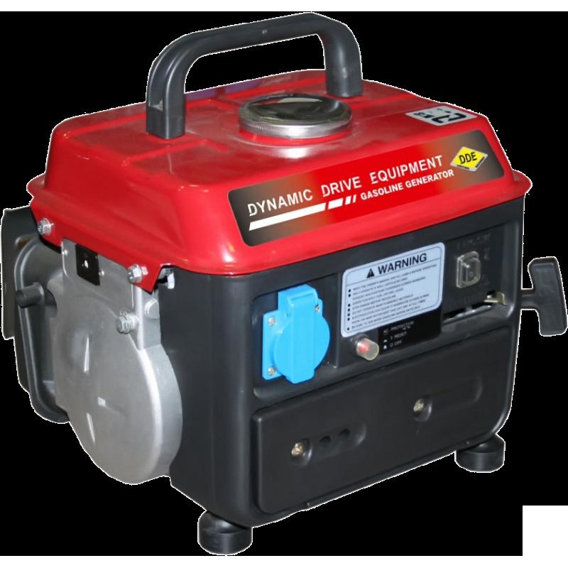 Электрогенератор DDE GG950DCЭлектрогенераторы<br><br><br>Тип электростанции: бензиновая<br>Тип запуска: ручной<br>Число фаз: 1 (220 вольт)<br>Объем двигателя: 63 куб.см<br>Мощность двигателя: 2 л.с.<br>Тип охлаждения: воздушное<br>Расход топлива: 0.72 л/ч<br>Объем бака: 4.2 л<br>Активная мощность, Вт: 650<br>Звукоизоляционный кожух: есть