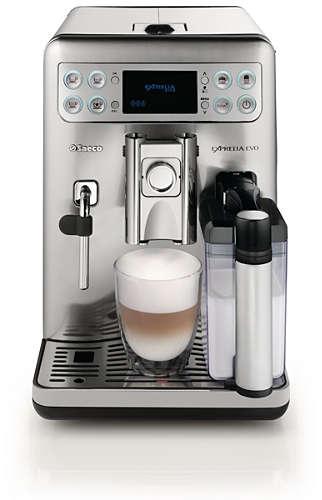 Кофемашина Saeco Exprelia EVO HD8857/09Кофеварки и кофемашины<br>Кофемашина Saeco HD 8857 Exprelia имеет в своей конструкции встроенный графин для молока. Необходимо просто наполнить его и выбрать программу, результат – вспененное горячее молоко. Цена данного прибора – это возможность приготовить вкусный напиток с потрясающей пенкой. Для этого выберите кнопку, которая обозначает предпочитаемый напиток – капучино, лате макиято, и буквально через несколько секунд вы получите горячий напиток с добавлением молока.<br><br>- Регулировка вкуса и крепости кофе<br>Цена HD 8857 09 — это возможность приготовить кофе по своему вкусу. Так...<br><br>Мощность, Вт: 1400<br>Объем, л: 1.6<br>Давление помпы, бар  : 15<br>Емкость контейнера для зерен, г  : 300<br>Одновременное приготовление двух чашек  : Есть