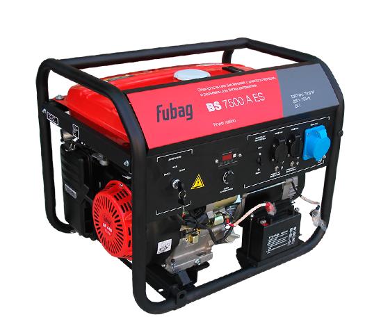 Электрогенератор FUBAG BS 7500 A ESЭлектрогенераторы<br>- Высокая мощность для универсального применения <br>Мощная электростанция с большим топливным баком и электростартером. Станция оснащена автоматическим декомпрессором, облегчающим запуск. Рама станции имеет подготовку для установки опционального транспортировочного комплекта Fubag: Колеса и ручки, шифр 568286. Для каждой розетки установлен индивидуальный предохранитель. <br><br>Подходит для аварийного или мобильного электроснабжения и для работы в мастерской или на стройке. С блоком автоматики - отличный выбор в ситуации, когда нужен источник аварийного...<br><br>Тип электростанции: бензиновая<br>Тип запуска: ручной, электрический<br>Число фаз: 1 (220 вольт)<br>Объем двигателя: 420 куб.см<br>Мощность двигателя: 9 л.с.<br>Тип охлаждения: воздушное<br>Объем бака: 25 л<br>Тип генератора: синхронный<br>Класс защиты генератора: IP23<br>Активная мощность, Вт: 7000