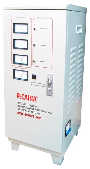 Стабилизатор напряжения Ресанта ACH-6000/3-ЭМСтабилизаторы напряжения<br>Трехфазный электромеханический стабилизатор Ресанта ACH-6000/3-ЭМ применяется, когда есть гарантия от непредвиденных резких скачков напряжения. Особенно подходит трехфазный электромеханический стабилизатор, если напряжение в сети постоянно понижено. Прибор стабилизируют напряжение максимально точно.<br><br>Тип: стабилизатор напряжения