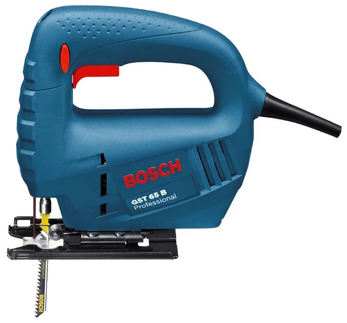 Лобзик Bosch GST 65 B [0601509120]Лобзики электрические<br><br><br>Потребляемая мощность: 400 Вт<br>Частота движения пилки: 3100 ходов/мин<br>Длина хода: 18 мм<br>Глубина пропила дерева: 65 мм<br>Глубина пропила алюминия: 12 мм<br>Глубина пропила стали: 8 мм<br>Рукоятка: скобовидная<br>Работа от аккумулятора: нет<br>Отсек для хранения пилок: есть