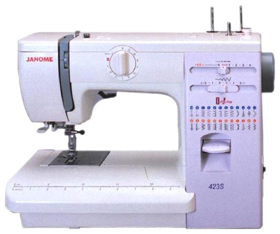 Швейная машина Janome 423S / 5522Швейные машины<br><br><br>Тип: электромеханическая<br>Количество швейных операций: 23<br>Выполнение петли: автомат<br>Максимальная длина стежка: 4.0 мм<br>Максимальная ширина стежка: 5.0 мм<br>Потайная строчка : есть<br>Эластичная строчка : есть<br>Эластичная потайная строчка: есть<br>Кнопка реверса: есть<br>Система измерения размера пуговиц: есть