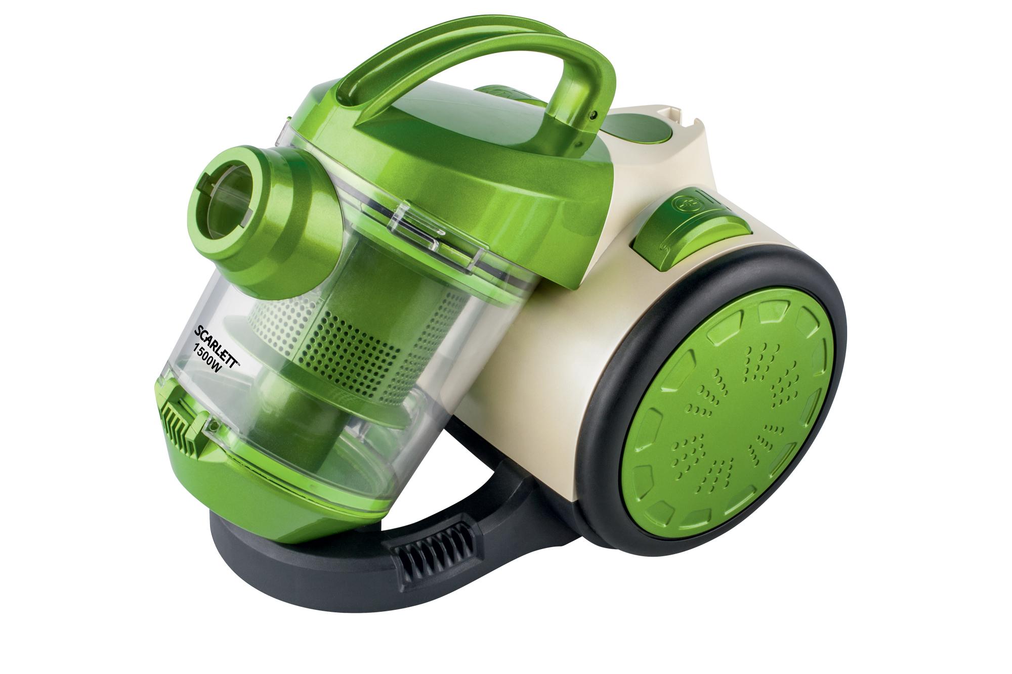 Пылесос Scarlett SC-VC80C01 GreenПылесосы<br>- Высокая эффективность и постоянная мощность всасывания<br>- Эффективная система очистки воздуха «Мультициклон»<br>- Без мешка для сбора пыли<br>- Лёгкая очистка контейнера<br>- Постоянные антистатические фильтры «грубой очистки» – легко моются и расcчитаны на весь срок службы прибора<br>- Вместимость контейнера для сбора пыли 1.5 л<br>- Регулятор потока воздуха на ручке<br>- Автосмотка шнура<br>- 2-х секционная пластиковая трубка<br>- Насадки в комплекте: комбинированная насадка ковёр/пол, комбинированная насадка мебель/щель<br>- Компактный размер и лёгкий вес пылесоса позволяет...<br><br>Тип: Пылесос<br>Потребляемая мощность, Вт: 1500<br>Тип уборки: Сухая<br>Регулятор мощности на корпусе: Нет<br>Пылесборник: Циклонный фильтр<br>Емкостью пылесборника : 1.50 л