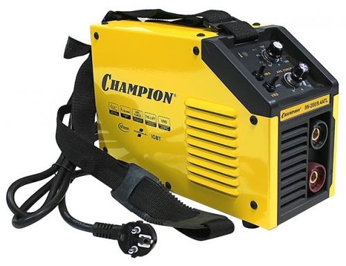 Сварочный аппарат Champion IW-200/9,4 ATLСварочные аппараты<br>Сварочный инвертор Champion IW-200/9.4ATL - аппарат комбинированной сварки MMA/TIG, с возможностью работы на пониженном напряжении до 160 В и повышенном до 260 В. Для изготовления сварчного аппарата CHAMPION IW-200/9,4 ATL используются высококачественные комплектующие ведущих европейских производителей Infineon, Fairchild. Наклонная панель управления – обеспечивает удобство при управлении режимами сварки и параметрами сварочного тока. Сварочный аппарат оснащен 5 функциями: функция зажигания дуги &amp;#40;HOT START&amp;#41;, функция предотвращения прилипания электрода &amp;#40;ANTI STICK&amp;#41;, функц...<br><br>Тип: сварочный инвертор<br>Сварочный ток (MMA): 20-200 А<br>Напряжение на входе: 160-260 В<br>Количество фаз питания: 1<br>Тип выходного тока: постоянный<br>Мощность, кВт: 9.40<br>Продолжительность включения при максимальном токе: 40 %<br>Диаметр электрода: 1.60-5 мм<br>Антиприлипание: есть<br>Горячий старт: есть