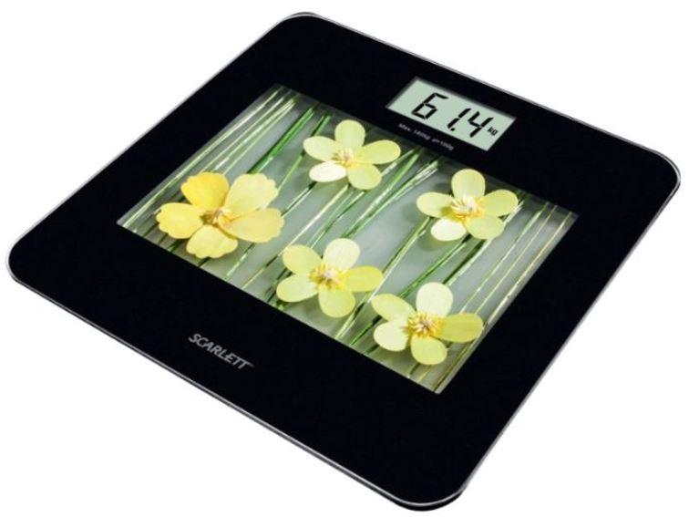 Весы Scarlett SC-BS33E002 BK/YW flowersВесы<br><br><br>Тип: электронные<br>Предел взвешивания, кг: 180<br>Точность измерения, г: 1