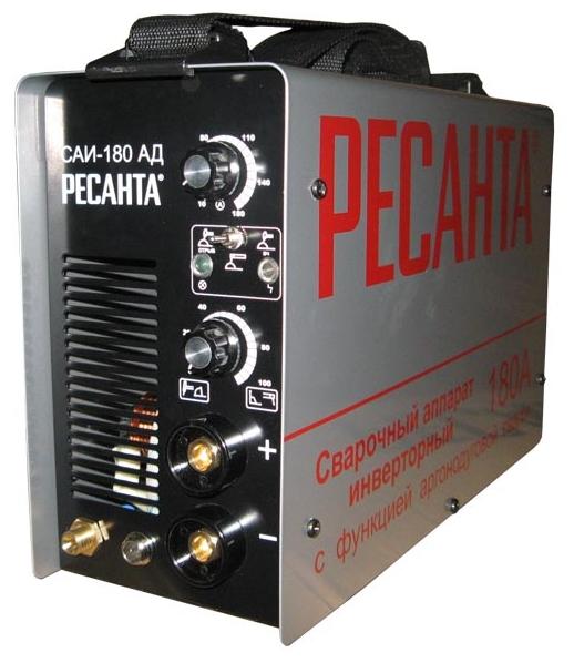 Сварочный аппарат Ресанта САИ-180-АДСварочные аппараты<br><br><br>Тип: сварочный инвертор<br>Сварочный ток (MMA): 10-180 А<br>Напряжение на входе: 242 В<br>Количество фаз питания: 1<br>Напряжение холостого хода: 85 В<br>Тип выходного тока: постоянный<br>Продолжительность включения при максимальном токе: 70 %<br>Форсаж дуги: есть