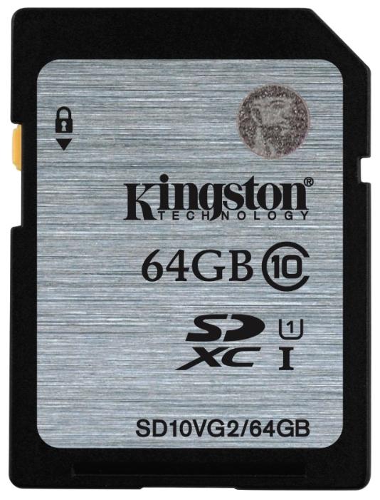 Карта памяти Kingston 64GB UHS-I 45MB/s SD10VG2/64GBКарты памяти<br><br><br>Тип: Карта памяти<br>Объем памяти: 64 Гб<br>Класс скорости: Class10