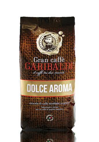 Кофе в зернах Garibaldi Dolce Aroma 1 кг.Кофе, какао<br>Мягкий ароматный кофе с сладковатым послевкусием от Итальянской компании Гарибальди. Средняя обжарка и идеальное сочетание зерен Арабики &amp;#40;35%&amp;#41; и Робусты &amp;#40;65%&amp;#41; придают напитку мягкий нежный вкус и аромат. Подходит для вендинга, кофе в офис, для домашнего использования, кофе для баров и ресторанов.<br><br>Тип: кофе в зернах<br>Обжарка кофе: средняя<br>Состав: 35% Арабика/ 65% Робуста