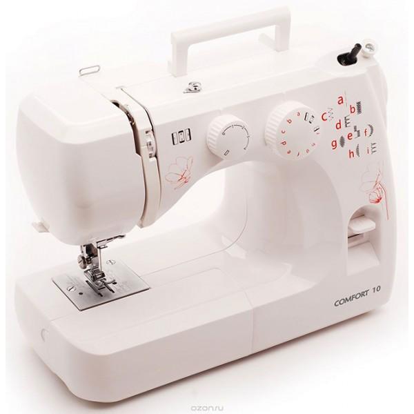 Швейная машина Comfort 10Швейные машины<br><br><br>Тип: электромеханическая<br>Тип челнока: вертикальный (ротационный)<br>Количество швейных операций: 12<br>Выполнение петли: полуавтомат<br>Максимальная длина стежка: 4 мм<br>Максимальная ширина стежка: 5.0 мм<br>Кнопка реверса: есть