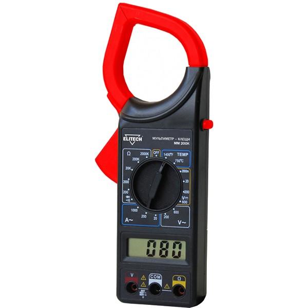 Мультиметр Elitech ММ 200КИзмерительные инструменты<br>Мультиметр ELITECH ММ 200K представляет собой портативный измерительный прибор с набором функций: измерение постоянного и переменного напряжения, измерение постоянного тока, измерение сопротивления, диодный и транзисторный тест, звуковая прозвонка.<br><br>- прозвонка цепей <br>- измерение сопротивления <br>- измерение постоянного и переменного тока <br>- измерение силы переменного тока <br>- измерение температуры <br>- клещи под кабель max 50 мм <br>- измерение напряжения до 600 В <br>- измерение силы тока до 1000 А<br>