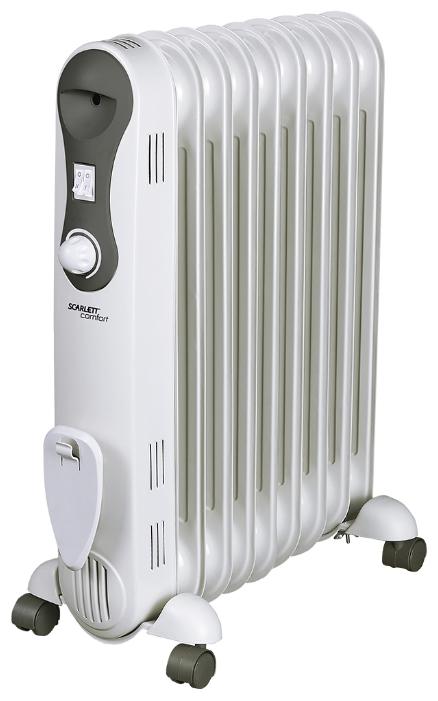Масляный радиатор Scarlett SC 21.2009 S2Обогреватели<br><br><br>Тип: масляный радиатор<br>Максимальная мощность обогрева: 2000 Вт<br>Количество секций: 9<br>Отключение при перегреве: есть<br>Каминный эффект : есть<br>Управление: механическое<br>Регулировка температуры: есть<br>Термостат: есть<br>Выключатель со световым индикатором: есть<br>Отделение для шнура : есть