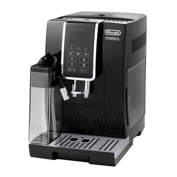 Кофемашина Delonghi ECAM350.55.BКофеварки и кофемашины<br>Кофемашина DeLonghi ECAM350.55.B укомплектована полностью автоматическим капучинатором, создающим густую устойчивую пенку из молока. Благодаря этому пользователь может получить такие напитки, как латте, капучино, флэт уайт и другие, нажав всего одну кнопку. <br><br>- Персональные настройки<br>Функция MY MENU позволяет создать собственный рецепт, установив желаемую крепость, температуру и объём напитка, а также количество молока и пенки на порцию. Специальная платформа для подогрева чашек поможет подать кофе в полном соответствии со стандартами, которых придерживается...<br><br>Тип используемого кофе: Зерновой<br>Мощность, Вт: 1450<br>Объем, л: 1.8<br>Давление помпы, бар  : 15<br>Материал корпуса  : Пластик<br>Встроенная кофемолка: Есть<br>Емкость контейнера для зерен, г  : 300<br>Одновременное приготовление двух чашек  : Есть<br>Съемный лоток для сбора капель  : Есть