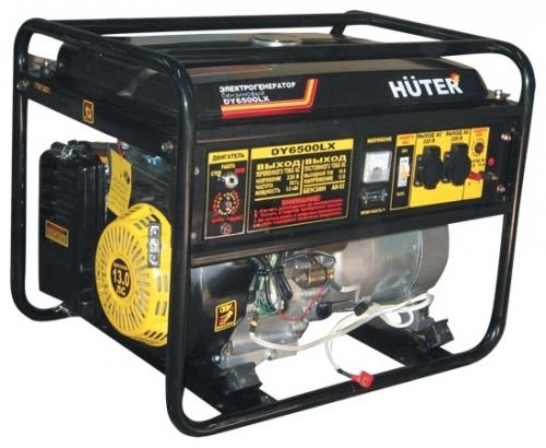 Электрогенератор Huter DY6500LXAЭлектрогенераторы<br>- Наличие панели автоматического вода резерва позволяет использовать генератор в сети как резервный источник электроэнергии, что делает эту сеть практически бесперебойной в любой ситуации.<br>- Надежный двигатель с большим ресурсом, вместительный топливный бак и эффективное принудительное охлаждение дают возможность агрегату работать без остановки довольно длительный срок.<br>- Система стабилизации поддерживает постоянное значение выходного напряжения, что можно увидеть при помощи вольтметра.<br>- Наличие двух выходов на 220 В и пары клемм на 12 В...<br><br>Тип электростанции: бензиновая<br>Тип запуска: ручной, электрический, автоматический<br>Число фаз: 1 (220 вольт)<br>Мощность двигателя: 13 л.с.<br>Тип охлаждения: воздушное<br>Объем бака: 22 л<br>Тип генератора: синхронный<br>Активная мощность, Вт: 5000<br>Защита от перегрузок: есть