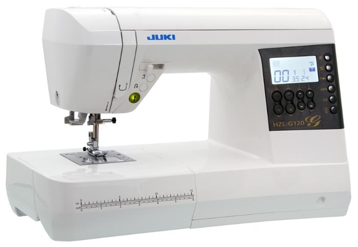 Швейная машина Juki HZL-G120Швейные машины<br><br><br>Тип: компьютерная<br>Тип челнока: ротационный горизонтальный<br>Вышивальный блок: нет<br>Количество швейных операций: 180<br>Выполнение петли: автомат<br>Число петель: 3<br>Максимальная длина стежка: 5.0 мм<br>Максимальная ширина стежка: 7.0 мм<br>Эластичная строчка : есть<br>Эластичная потайная строчка: есть