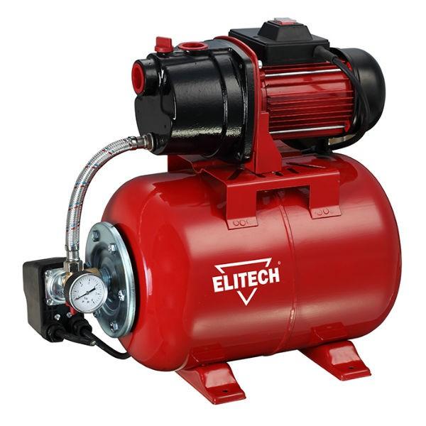 Насос Elitech САВ 1000Ч/24Насосы<br>Насосная станция Elitech САВ 1000Ч/24 предназначена для автоматического водоснабжения потребителей от источника воды до водоразборного узла, а также увеличения давления в действующей системе водоснабжения. Идеально подходит для водоснабжения малоэтажных домов, в которых отсутствует центральное водоснабжение.<br><br>- металлический гидроаккумулятор объемом 24 литра <br>- работа в автоматическом режиме <br>- малошумная чугунная помпа <br>- выключатель с защитой от пыли и капель воды <br>- стандартная присоединительная резьба G1<br>- Заливная и сливная пробка откручивается...<br><br>Глубина погружения: 8 м<br>Максимальный напор: 45 м<br>Пропускная способность: 3.6 куб. м/час<br>Напряжение сети: 220/230 В<br>Потребляемая мощность: 1000 Вт<br>Качество воды: чистая<br>Установка насоса: горизонтальная