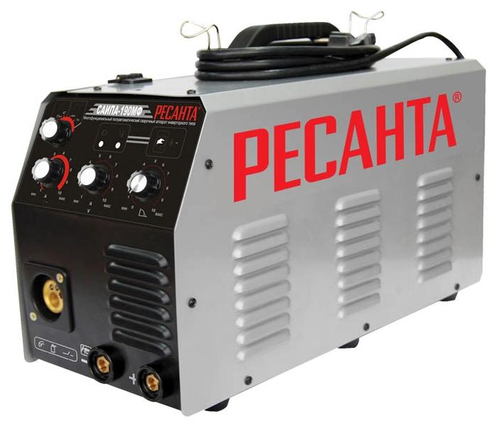 Сварочный аппарат Ресанта САИПА-190МФСварочные аппараты<br><br><br>Тип: сварочный инвертор<br>Сварочный ток (MMA): 10-190 А<br>Напряжение на входе: 198-242 В<br>Количество фаз питания: 1<br>Тип выходного тока: постоянный<br>Продолжительность включения при максимальном токе: 70 %<br>Степень защиты: IP21