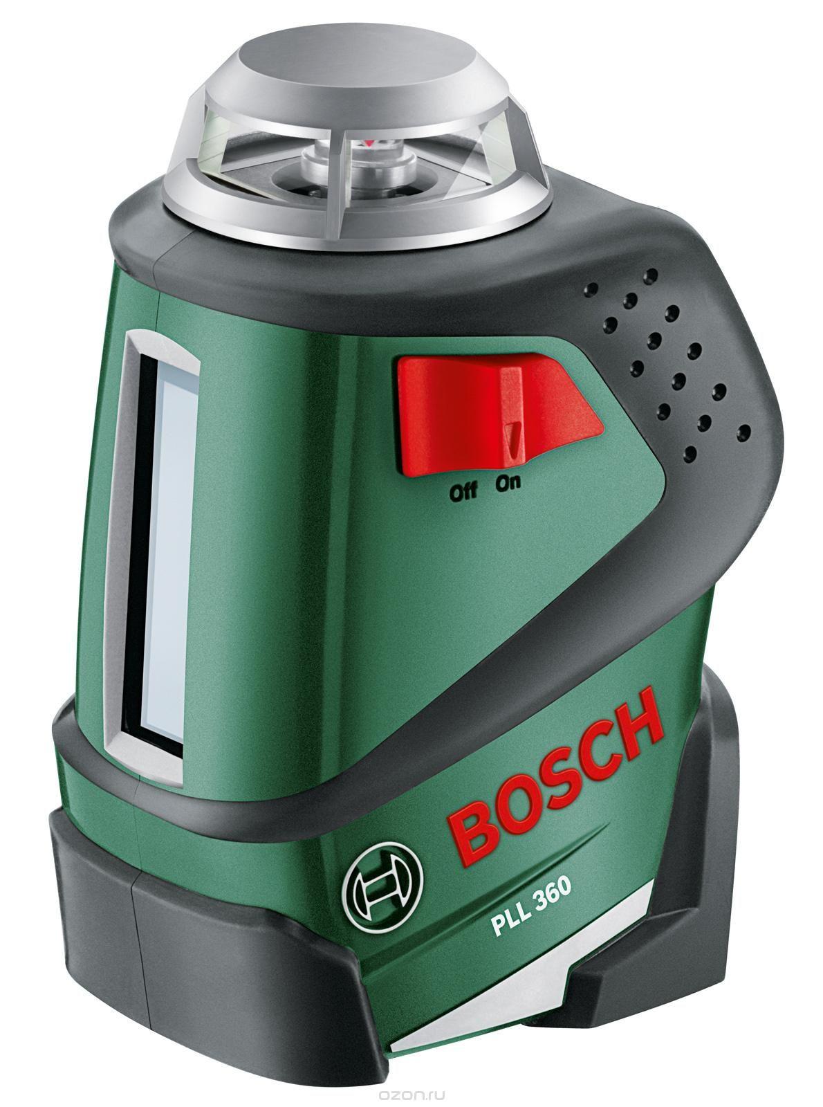 Лазерный нивелир Bosch PLL 360 [0603663020]Измерительные инструменты<br>Самонивелирующийся линейный лазер 360°<br><br>Потребительские преимущества<br>- Идеальная горизонтальная линия в диапазоне 360° для точного и безошибочного выравнивания объектов в помещении<br>- Автоматическое нивелирование за несколько секунд гарантирует быструю и безошибочную работу<br>- Ровные и хорошо видимые лазерные лучи<br><br>Дополнительные преимущества<br>- Идеальная вертикальная линия для более универсального применения<br>- Проекция диагональных линий — под любым углом благодаря функции фиксации<br>- Простое позиционирование лазерного луча на любой высоте...<br>
