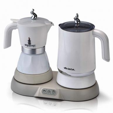 Набор для завтрака Ariete 1344Кофеварки и кофемашины<br>Набор для завтрака Ariete 1344 - универсальный прибор, который сочетает в себе сразу несколько функций. Он представляет собой компактную станцию, на которую устанавливается гейзерная кофеварка и прибор, выполняющий функции капучинатора и чайника. Данная модель понравится всем, кто хочет приобрести для кухни стильную и необычную технику. С появлением этого устройства у вас дома вы сможете каждый день готовить к завтраку что-то новенькое.<br><br>- Функции<br>Гейзерная кофеварка работает очень просто: вы помещаете в нижнюю ее часть воду, затем насыпаете в фильтр...<br><br>Тип : набор для завтрака<br>Тип используемого кофе: Молотый<br>Мощность, Вт: 500<br>Материал корпуса  : Пластик