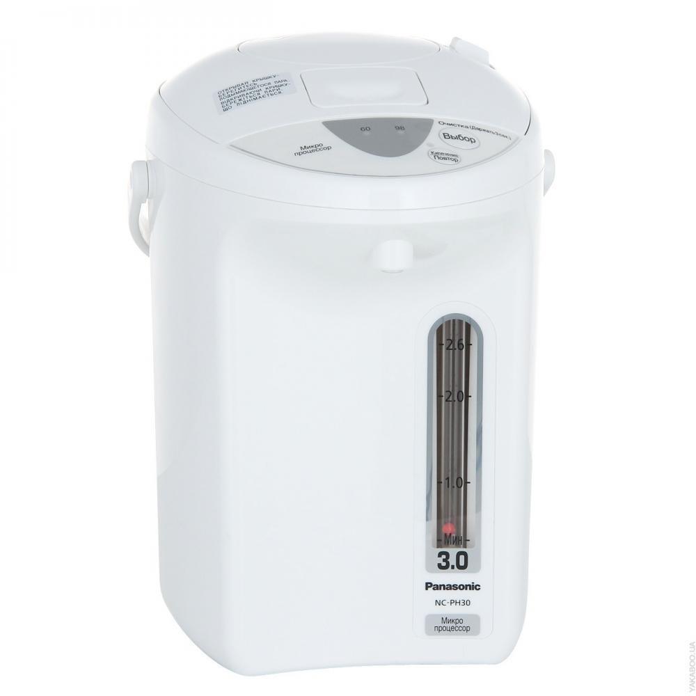 Термопот Panasonic NC-PH30ZTWЧайники и термопоты<br><br><br>Тип   : Термопот<br>Объем, л  : 3<br>Мощность, Вт  : 700<br>Тип нагревательного элемента: Закрытая спираль<br>Материал корпуса  : пластик<br>Минимальная температура нагрева, градусов  : 60<br>Индикатор уровня воды  : Есть