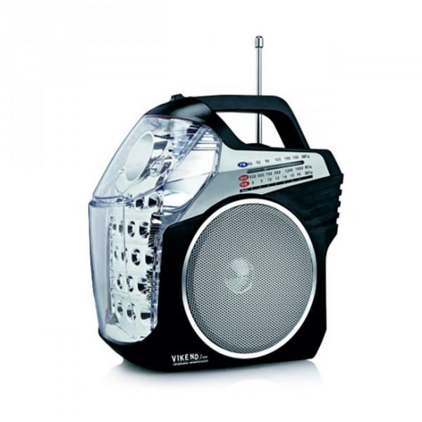 Радиоприемник Сигнал electronics VIKEND IRONРадиобудильники, приёмники и часы<br>3 диапазона принимаемых частот: УКВ- 64- 108 МГц, СВ- 530- 1600 КГц, КВ- 8,0- 16 МГц.<br>2 светодиодных фонаря - 0, 8 и 1,3 Вт.<br>Разъемы: USB, SD.<br>Телескопическая антенна.<br>Удобная ручка.<br>Питание: сеть, аккумуляторная батарея, 3 батарейки типа R20.<br>Напряжение питания: 4,5В/220В.<br>Емкость аккумуляторной батареи: 1800 мАч.<br><br>Тип: Радиоприемник<br>Тип тюнера: Цифровой<br>Часы: Нет<br>Встроенный будильник  : Нет