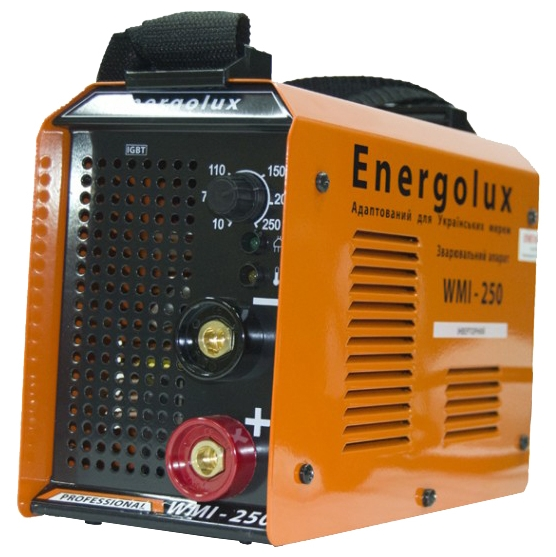 Сварочный аппарат Energolux WMI-250Сварочные аппараты<br><br><br>Тип: сварочный инвертор<br>Сварочный ток (MMA): 20-250 А<br>Напряжение на входе: 180-240 В<br>Количество фаз питания: 1<br>Тип выходного тока: постоянный<br>Продолжительность включения при максимальном токе: 60 %<br>Класс изоляции: F<br>Антиприлипание: есть<br>Горячий старт: есть<br>Степень защиты: IP21
