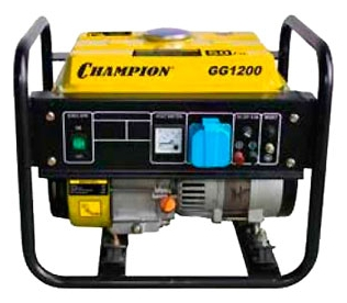Электрогенератор Champion GG1200Электрогенераторы<br><br><br>Тип электростанции: бензиновая<br>Тип запуска: ручной<br>Число фаз: 1 (220 вольт)<br>Тип охлаждения: воздушное<br>Объем бака: 5.2 л<br>Активная мощность, Вт: 900<br>Защита от перегрузок: есть<br>Описание: вольтметр