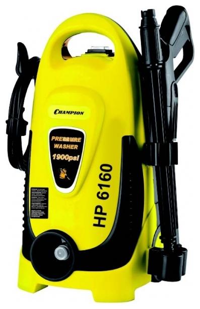 Мойка высокого давления Champion HP6160Мойки высокого давления<br><br><br>Давление, Бар: 130<br>Производительность, л/час: 360<br>Потребляемая мощность: 1.6 кВт·ч<br>Насадки: стандартная<br>Шланг ВД: способ хранения: держатель, длина 5 м