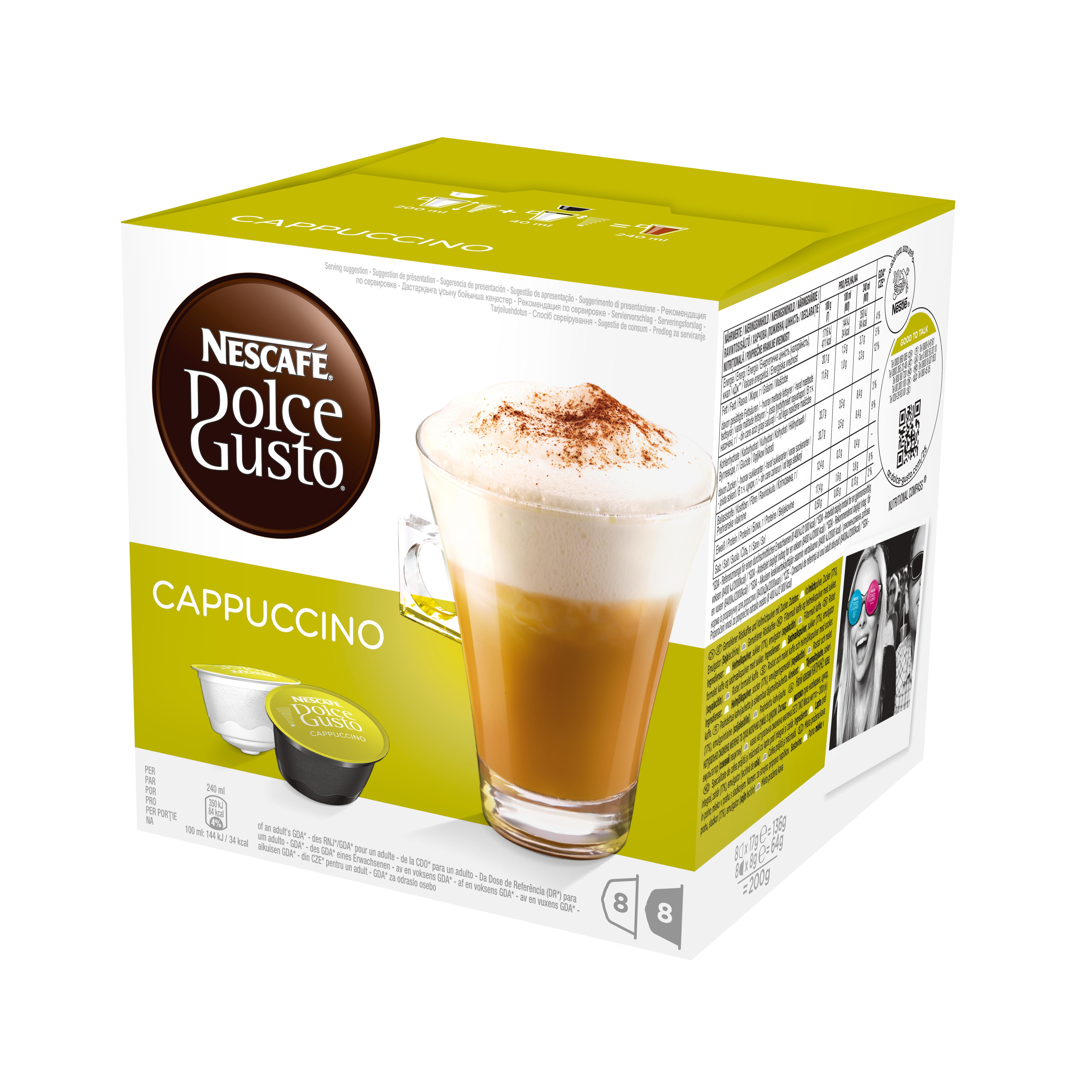 Кофе в капсулах Dolce Gusto Cappuccino (Каппучино), 16 кап.Кофе, какао<br>Капучино - это сочетание густого эспрессо с вкусной сладкой молочной пенкой.<br>СОСТАВ: кофе натуральный жареный молотый, молоко сухое цельное.<br><br>Тип: кофе в капсулах<br>Дополнительно: порция густого эспрессо со вкусной сладкой молочной пенкой.