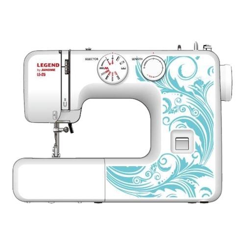 Швейная машина Janome Legend LE-25Швейные машины<br>Практичная и надежная бытовая швейная машинка для шитья всех видов тканей. Относится к бюджетному классу бытовых швейных машин для ремонта одежды и несложного пошива. JANOME LE-25 оснащена 15 швейными операциями и классическим вертикальным качающимся челноком.<br><br>JANOME LE-25 - швейная машинка серии LEGEND. Швейные машинки серии Legend от Janome - надежные, неприхотливые и удобные в управлении швейные машинки построенные на конструкции отлично зарекомендовавшей себя на протяжении многих лет.&amp;nbsp;&amp;nbsp;JANOME LE-25 имеет аналоги в различных серия швейных машин JANOME, например...<br><br>Тип: электромеханическая<br>Тип челнока: качающийся<br>Вышивальный блок: нет<br>Количество швейных операций: 15<br>Выполнение петли: полуавтомат<br>Число петель: 1<br>Максимальная длина стежка: 4.0 мм<br>Максимальная ширина стежка: 5.0 мм<br>Потайная строчка : есть<br>Эластичная строчка : есть