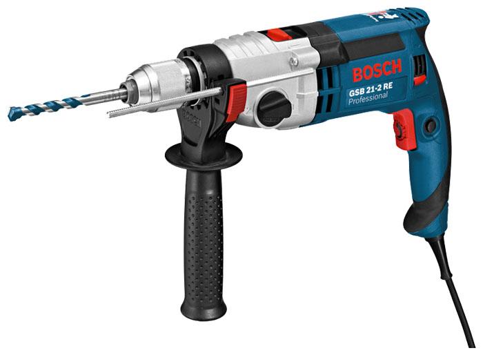 Дрель-шуруповерт Bosch GSB 21-2 RE Case (БЗП) [060119C500]Дрели, шуруповерты, гайковерты<br>Самый мощный инструмент в своем классе — для выполнения самых сложных работ<br><br>Потребительские преимущества<br><br>- Двигатель высокой мощности &amp;#40;1100 Вт&amp;#41; от Bosch с высоким крутящим моментом для выполнения самых сложных работ, связанных с изготовлением отверстий большого диаметра &amp;#40;сверление, сверление полыми сверлильными коронками и коронками&amp;#41;, а также для заворачивания шурупов и размешивания<br>- Надежный металлический корпус редуктора для долгого срока службы<br>- Механическая предохранительная муфта Antirotation обеспечивает высокую безопасность даже...<br><br>Тип: дрель-шуруповерт<br>Тип инструмента: ударный<br>Тип патрона: быстрозажимной<br>Количество скоростей работы: 2<br>Питание: от сети<br>Тормоз двигателя: есть<br>Возможности: реверс, предохранительная муфта, фиксация шпинделя, электронная регулировка частоты вращения<br>Кейс в комплекте: есть