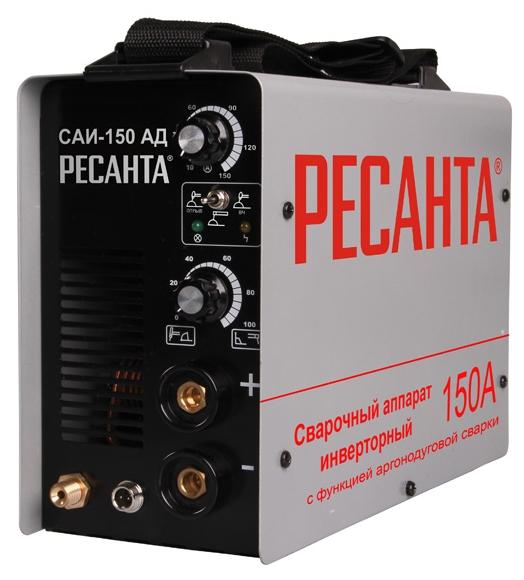 Сварочный аппарат Ресанта САИ-150 АДСварочные аппараты<br><br><br>Тип: сварочный инвертор<br>Сварочный ток (MMA): 10-150 А<br>Напряжение на входе: 242 В<br>Количество фаз питания: 1<br>Напряжение холостого хода: 85 В<br>Тип выходного тока: постоянный<br>Продолжительность включения при максимальном токе: 70 %<br>Форсаж дуги: есть