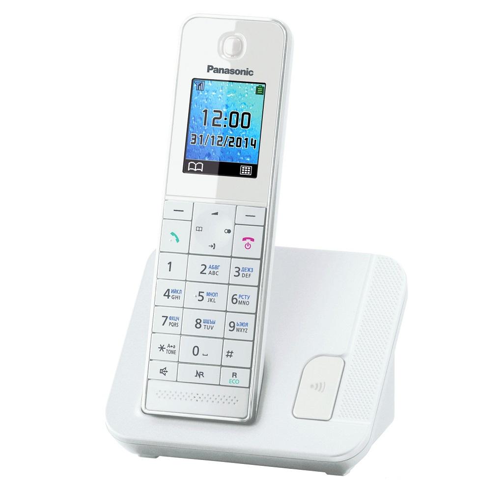 Радиотелефон Panasonic KX-TGH210RUWРадиотелефон Dect<br><br><br>Тип: Радиотелефон<br>Количество трубок: 1<br>Рабочая частота: 1880-1900 МГц<br>Стандарт: DECT<br>Радиус действия в помещении / на открытой местност: 50/300 м<br>Время работы трубки (режим разг. / режим ожид.): 14 / 250 ч<br>Полифонические мелодии: 40<br>Дисплей: на трубке (цветной)<br>Подсветка кнопок на трубке: Есть<br>Возможность настенного крепления: Есть