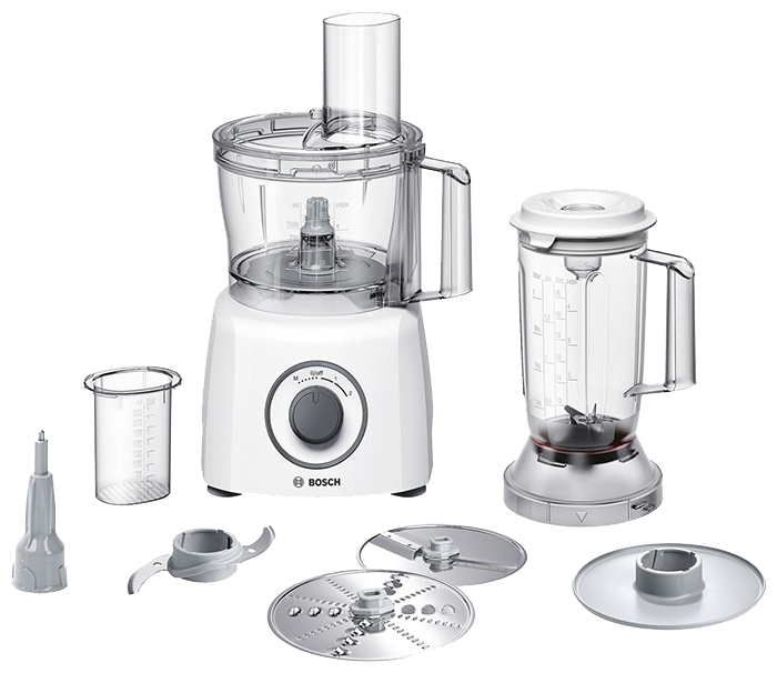 Кухонный комбайн Bosch MCM 3200 WКухонные комбайны<br><br><br>Тип: Кухонный комбайн<br>Мощность, Вт: 800<br>Емкость чаши, л: 2.3<br>Блендер, л: 1<br>Место для хранения насадок: Есть