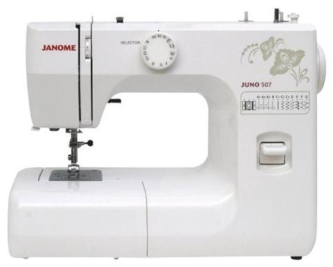 Швейная машина Janome Juno 753Швейные машины<br><br><br>Тип: электромеханическая<br>Вышивальный блок: нет<br>Количество швейных операций: 12<br>Выполнение петли: полуавтомат<br>Максимальная длина стежка: 4 мм<br>Максимальная ширина стежка: 5.0 мм<br>Потайная строчка : есть<br>Эластичная строчка : есть<br>Эластичная потайная строчка: есть<br>Кнопка реверса: есть