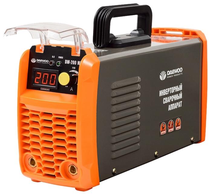 Сварочный аппарат Daewoo DW-200 MMAСварочные аппараты<br><br><br>Сварочный ток (MMA): 20-200 А<br>Напряжение на входе: 140-250 В<br>Количество фаз питания: 1<br>Напряжение холостого хода: 65 В<br>Тип выходного тока: постоянный<br>Мощность, кВт: 7.1<br>Продолжительность включения при максимальном токе: 80 %<br>Диаметр электрода: 1.50-5 мм<br>Класс изоляции: H<br>Антиприлипание: есть