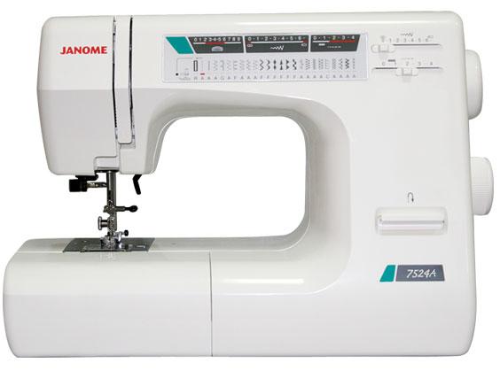 Швейная машина Janome 7524AШвейные машины<br>Почему Janome 7524a очень популярна?<br> Швейная машина Janome 7524a пользуется неизменной популярностью. Хотите узнать, в чем причина? Весь секрет заключается в высоком качестве машины, а также в ее богатом функционале. Машинка 7524a может шить, действительно, все, начиная от шелка и заканчивая кожей. Благодаря 24 швейным операциям (включая фестонную, ромбовидную строчку, а также пуловерный стежок) вы можете выбрать наиболее подходящий вам тип строчки.<br><br><br><br> Если вы уже приняли решение купить такую швейную машину, то вы абсолютно правы! Это верное решение, ведь...<br><br>Тип: электромеханическая<br>Тип челнока: ротационный горизонтальный<br>Вышивальный блок: нет<br>Количество швейных операций: 23<br>Выполнение петли: автомат<br>Максимальная длина стежка: 4.0 мм<br>Максимальная ширина стежка: 6.5 мм<br>Оверлочная строчка : есть<br>Потайная строчка : есть<br>Эластичная строчка : есть