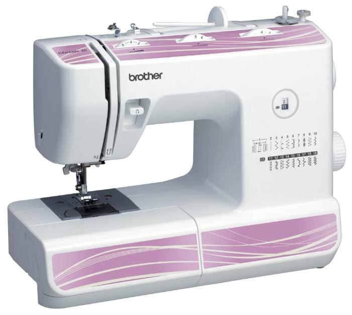 Швейная машина Brother Classic 20Швейные машины<br><br><br>Тип: электромеханическая<br>Вышивальный блок: нет<br>Количество швейных операций: 19<br>Выполнение петли: полуавтомат<br>Число петель: 1<br>Максимальная длина стежка: 5.0 мм<br>Максимальная ширина стежка: 5.0 мм<br>Кнопка реверса: есть<br>Регулировка давления лапки на ткань: есть<br>Лапка для вшивания молнии: есть