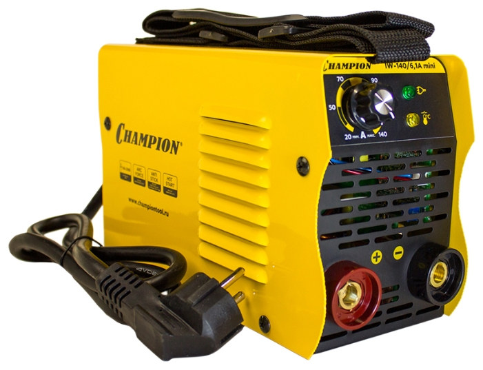 Сварочный аппарат Champion IW-140/6,1A miniСварочные аппараты<br>Champion IW-140/6,1A mini – простой в эксплуатации и очень удобный сварочный инвертор, предназначенный для использования при создании прочных неразъемных металлических конструкций.<br><br>Обеспечивает высокое качество сварочных швов при работе в сети с напряжением от 160 до 250 В.<br><br>Максимальный диаметр используемого электрода составляет 3,2 мм, максимальный ток – 140 А, класс защиты – IP21S.<br><br>Аппарат оснащен 3-мя функциями: HOT START &amp;#40;зажигание дуги&amp;#41;, ARC FORCE &amp;#40;форсирование дуги&amp;#41; и ANTI STICK &amp;#40;антиприлипание электрода&amp;#41;.<br><br>На удобной панели управления расположены: регулятор...<br><br>Тип: сварочный инвертор<br>Сварочный ток (MMA): 30-140 А<br>Напряжение на входе: 160-250 В<br>Количество фаз питания: 1<br>Напряжение холостого хода: 60 В<br>Тип выходного тока: постоянный<br>Мощность, кВт: 6.10<br>Продолжительность включения при максимальном токе: 60 %<br>Диаметр электрода: 2-3.20 мм<br>Класс изоляции: F