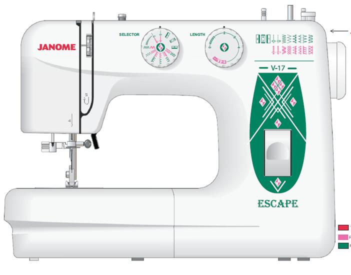 Швейная машина Janome Escape V-17Швейные машины<br>Для Janome v 17 escape нет ничего невозможного!<br> Швейная машина Janome v 17 escape одинаково понравится и профессионалам, и новичкам в швейном деле. Множество полезных функций, 17 швейных операций, плавная регулировка скорости шитья, целый набор полезных деталей и различных инструментов в комплекте &amp;mdash; машинка v 17 escape справится на &amp;laquo;пять с плюсом&amp;raquo; любое ваше поручение! Починить одежду или сшить новую по самым модным выкройкам — для этой швейной машины нет ничего невозможного!<br><br><br><br> Прочитайте отзывы покупателей об этой модели и убедитесь: она, действительно,...<br><br>Тип: электромеханическая<br>Тип челнока: качающийся<br>Количество швейных операций: 16<br>Выполнение петли: полуавтомат<br>Число петель: 1<br>Максимальная длина стежка: 4 мм<br>Максимальная ширина стежка: 5.0 мм<br>Оверлочная строчка : есть<br>Потайная строчка : есть<br>Эластичная строчка : есть