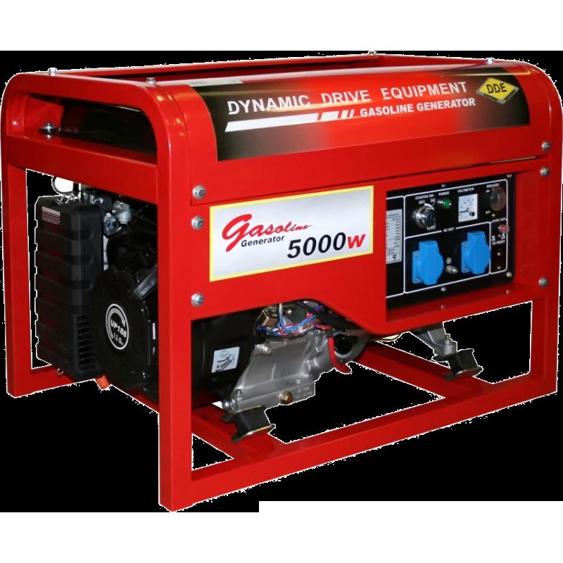 Электрогенератор DDE DPG7551EЭлектрогенераторы<br><br><br>Тип электростанции: бензиновая<br>Тип запуска: ручной, электрический<br>Число фаз: 1 (220 вольт)<br>Объем двигателя: 389 куб.см<br>Мощность двигателя: 13 л.с.<br>Тип охлаждения: воздушное<br>Объем бака: 25 л<br>Активная мощность, Вт: 5000<br>Защита от перегрузок: есть