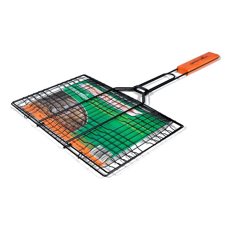 Решетка-гриль Green Glade 7004Мангалы, барбекю, гриль<br>Двойная объемная решетка-гриль Green glade 7004 используется для приготовления мясных стейков, рыбы и овощей. Имеет удобную деревянную ручку.<br><br>Конструкция надежно удерживает продукты внутри. Решетка легко разбирается и моется. Отличается прочностью и износостойкостью.<br><br>Тип: Решетка для гриля