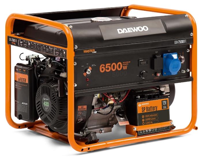 Электрогенератор Daewoo GDA 7500DFEЭлектрогенераторы<br>Газовый генератор Daewoo GDA 7500 DFE сжиженный газ/бензин - рассчитан на длительную непрерывную работу - около 15 часов при 50% нагрузке, обладает повышенной износостойкостью и имеет большой моторесурс &amp;#40;более 2000 часов&amp;#41;. Все конструктивные элементы и узлы агрегата надежно зафиксированы на рамном корпусе, который характеризуется высокой прочностью и жесткостью. Для большего комфорта в электростанции предусмотрена возможность установки транспортного комплекта - колес и складываемой рукоятки, что значительно облегчает транспортировку оборудования...<br><br>Тип электростанции: газо-бензиновая<br>Тип запуска: ручной, электрический<br>Число фаз: 1 (220 вольт)<br>Объем двигателя: 420 куб.см<br>Мощность двигателя: 15 л.с.<br>Тип охлаждения: воздушное<br>Объем бака: 25 л<br>Активная мощность, Вт: 6000<br>Защита от перегрузок: есть<br>Описание: розетки 1х16А, 1х32А