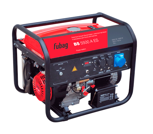 Электрогенератор FUBAG BS 5500 A ESЭлектрогенераторы<br>- Мощный и экономичный двигатель <br>Данная модель полностью подготовлена для работы с внешним блоком автоматики. Станция оснащена автоматическим декомпрессором, облегчающим запуск. Рама станции имеет подготовку для установки опционального транспортировочного комплекта Fubag: Колеса и ручки, шифр 568286. Для каждой розетки установлен индивидуальный предохранитель. <br><br>Электростанция для аварийного или мобильного электроснабжения, подходит для работы в мастерской или на стройке. При подключении блока автоматики - отличный выбор в ситуации, когда ...<br><br>Тип электростанции: бензиновая<br>Тип запуска: ручной, электрический, автоматический<br>Число фаз: 1 (220 вольт)<br>Объем двигателя: 389 куб.см<br>Мощность двигателя: 12.8 л.с.<br>Тип охлаждения: воздушное<br>Объем бака: 25 л<br>Класс защиты генератора: IP23<br>Активная мощность, Вт: 500<br>Защита от перегрузок: есть