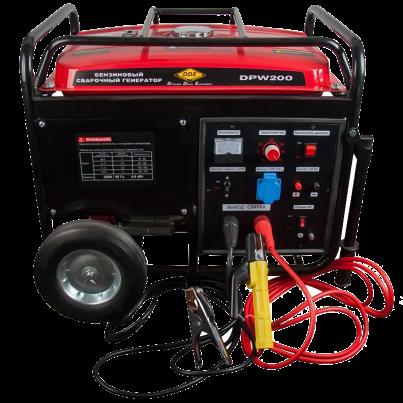 Электрогенератор DDE DPW200Электрогенераторы<br><br><br>Тип электростанции: бензиновая, сварочная<br>Тип запуска: ручной<br>Число фаз: 1 (220 вольт)<br>Объем двигателя: 420 куб.см<br>Мощность двигателя: 14 л.с.<br>Тип охлаждения: воздушное<br>Объем бака: Объем бака 25 л<br>Активная мощность, Вт: 4000<br>Защита от перегрузок: есть<br>Описание: сварочный ток до 210 А