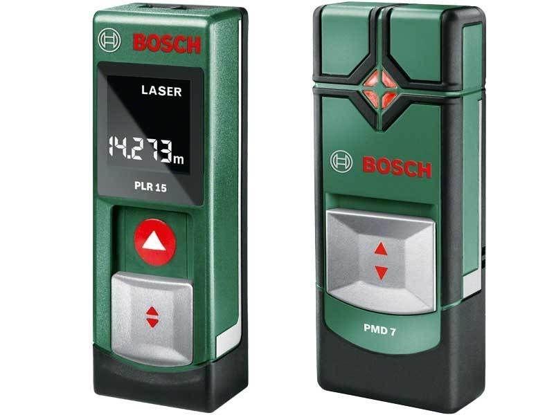 Набор Bosch PLR 15 + PMD 7 [0603672002]Измерительные инструменты<br>Делает измерение абсолютно простым делом.<br><br>Потребительские преимущества<br>- Высокоточное измерение участков и расстояний благодаря лазерной технологии<br>- Интуитивно понятное использование благодаря простому управлению с одной кнопкой<br>- Компактный размер, удобное размещение в любом кармане<br><br>Дополнительные преимущества<br>- Дисплей с четкой индикацией и включаемой фоновой подсветкой<br>- Диапазон измерения до 15 м<br>- Функция «Hold» для сохранения результатов последнего измерения<br>- Рукоятка с мягкой накладкой для удобства использования<br>